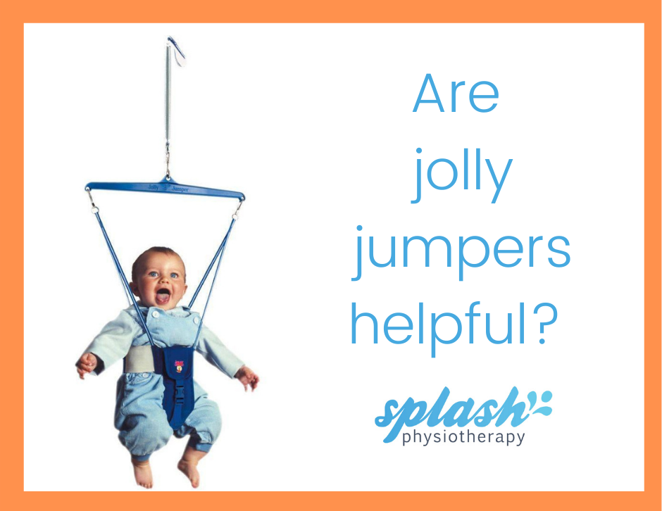 Heading 'are baby walkers helpful' is in blue above our logo for Splash Physiotherapy. A white baby smiles as they bounce in the air in a blue jumpsuit and blue jolly jumper. The image is surrounded by an orange border.