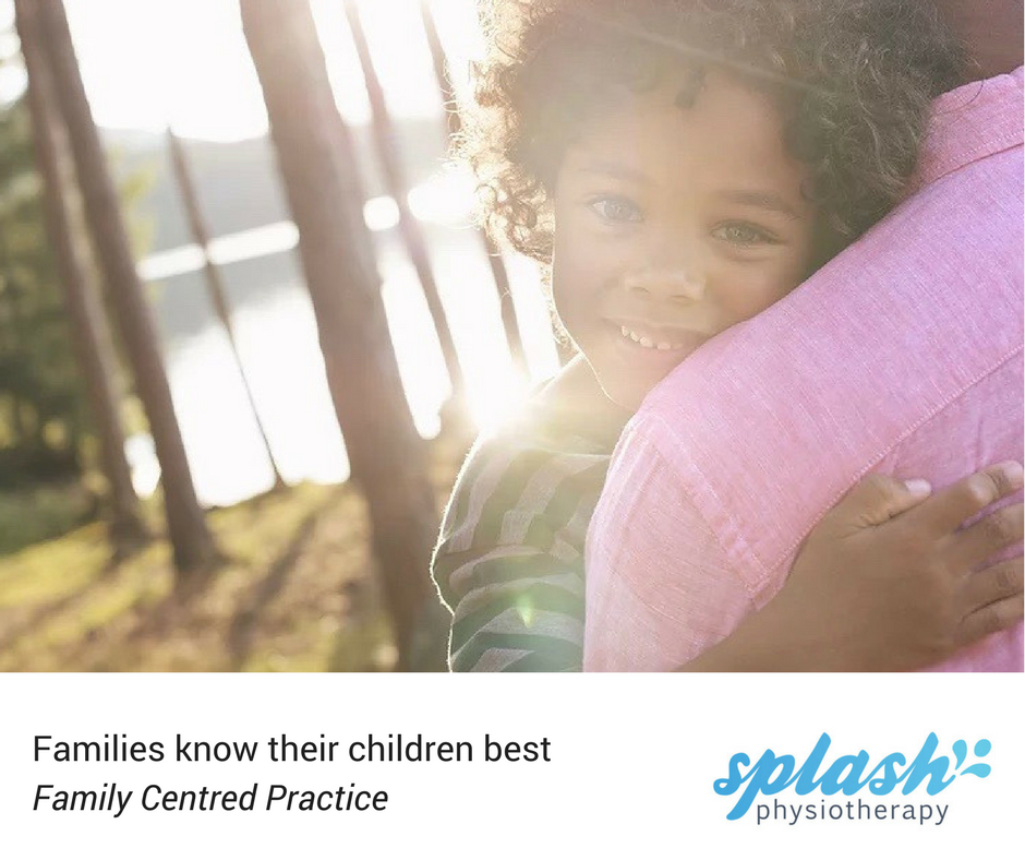 "A Splash Values card. Heading ""Families know their children best - family centred practice"" and our Splash Physiotherapy logo, is accompanied by a photo of a smiling Black child with curly short hair lookinginto the camera over their parent's shoulder, with sun shining on a forest and lake behind them"
