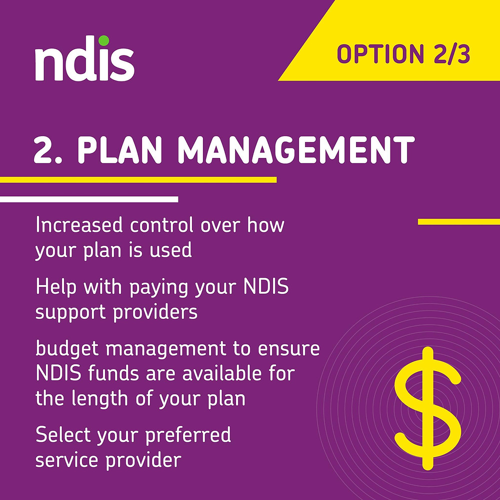 NDIS plan management. Increaed control ove rhow your plan is used. Help with paying your NDIS suport providers. Budget management to ensure NDIS funds are available for the length of your plan. Select your preferred service provider.