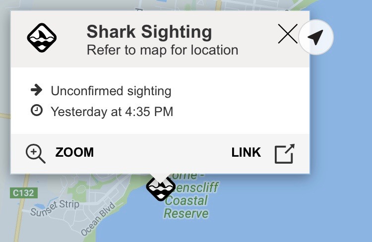Image shows screen shot from Vic Emergency app with unconfirmed shark sighting