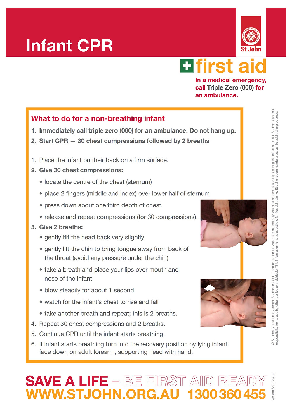 First aid chart showing infant CPR