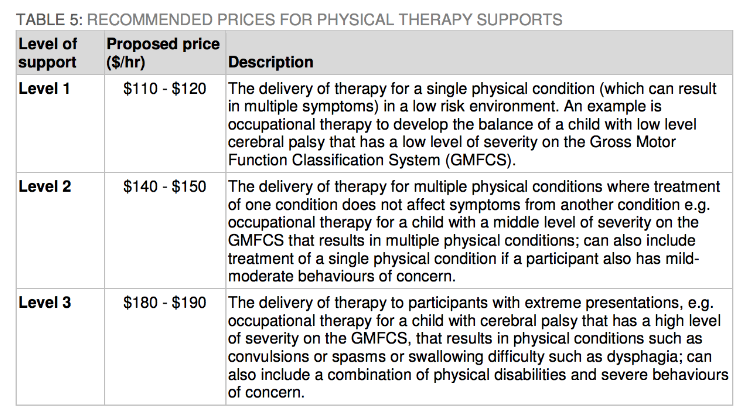 NDIS independent pricing review recommended Level prices for physiotherapy supports