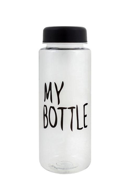 Be First-Бутылка для воды MY BOTTLE 400 мл - черная крышка (SN2033-TRANSP-NO)