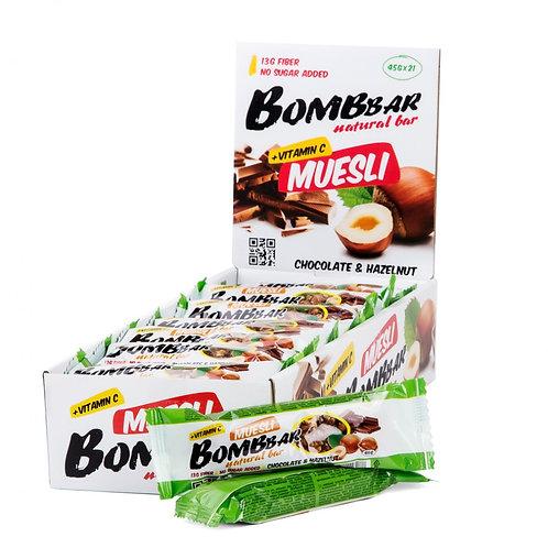 BOMBBAR-Батончик Bombbar Muesli 21*45 г - шоколад-фундук