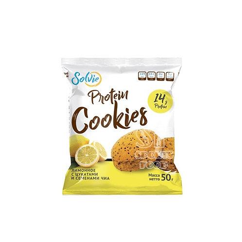 SOLVIE-Protein cookies - лимонное с цукатами и семенами чиа