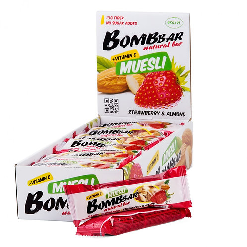 BOMBBAR-Батончик Bombbar Muesli 21*45 г - клубника-миндаль
