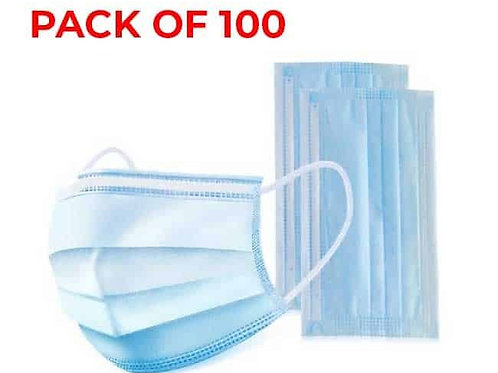 3-Ply Face Mask with Fluid Protection - Box of 100