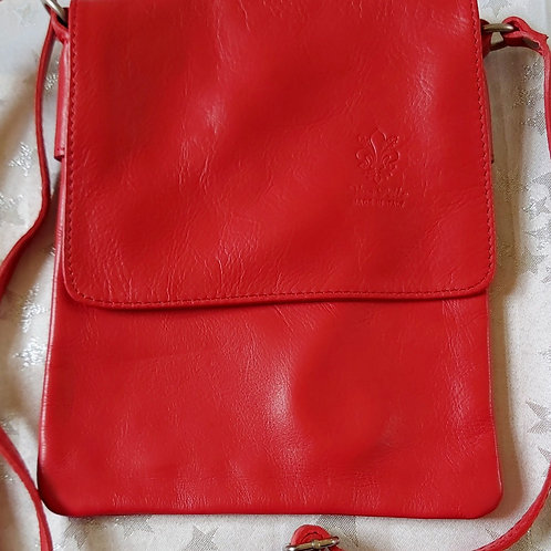 Small Flap Leather Cross-Body Bag (Red)