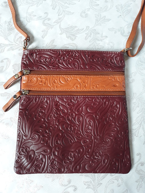 Embossed leather cross-body bag (Burguady)