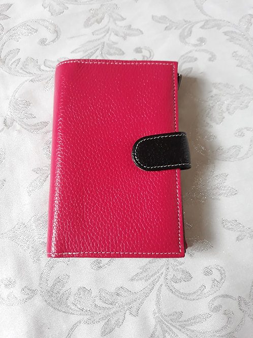 Italian Leather Purse (Pink and Black)