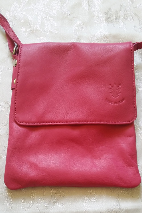 Small Flap Leather Cross-Body Bag (Pink)