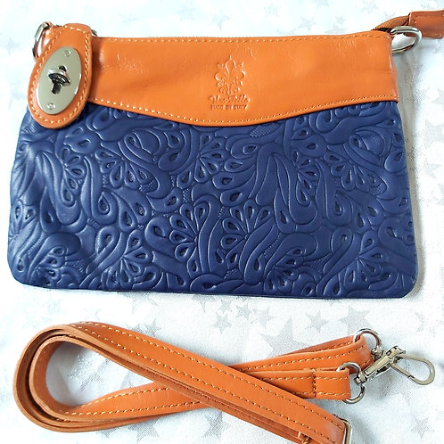 N.S.Embossed Leather Bag (Navy and Tan)