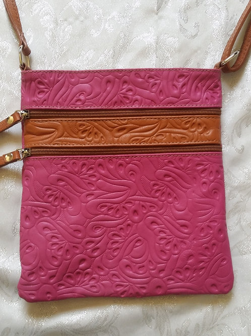 Embossed leather cross-body bag (Pink & Tan)