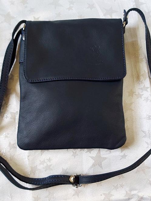 Small Flap Leather Cross-Body Bag (Dark Navy)