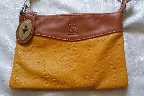 N.S.Embossed leather bag (Yellow & Tan)
