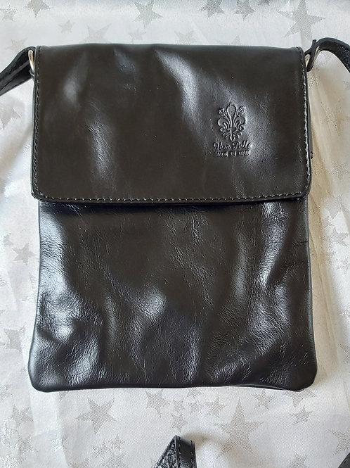 Small Flap Leather Cross-Body Bag (Black)