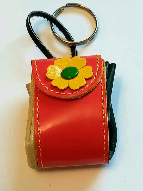 Pouch Keyring (Orange with Yellow Flower)