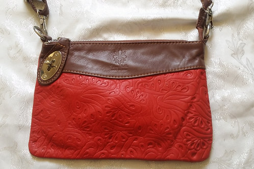 N.S.Embossed leather bag (Red and Chestnut)