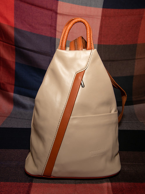 Leather Rucksack in Beige and Tan