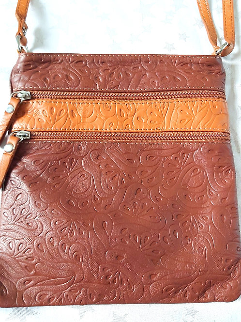 Embossed leather cross-body bag (Brown)