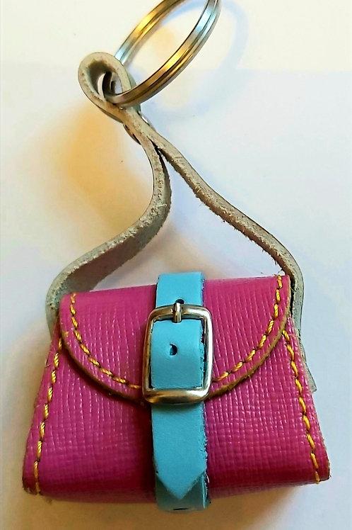 Mini Satchel Leather Bag Keyring