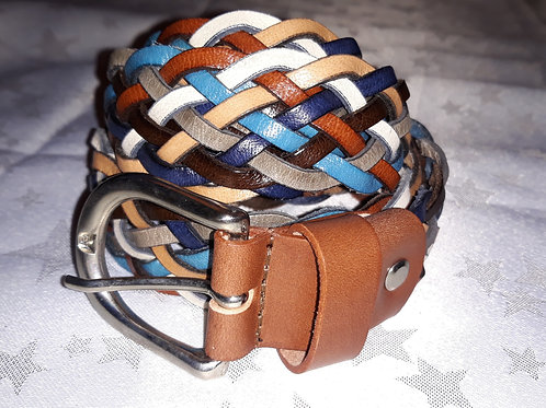 Large Leather Belt (Tan & Blue)