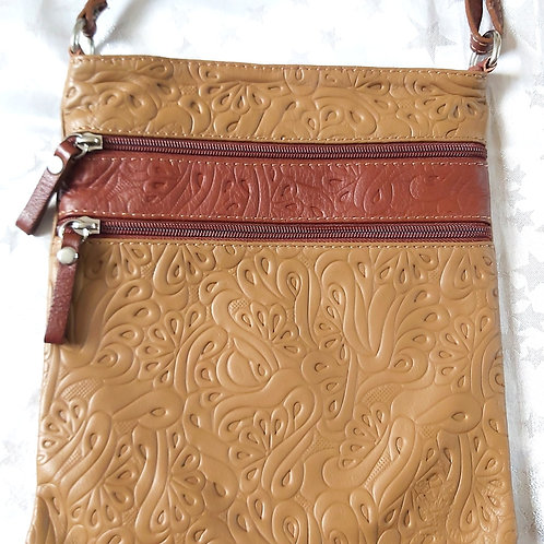 Embossed leather cross-body bag (Taupe)