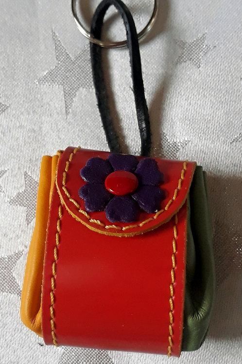 Pouch Keyring (Orange with Purple Flower)