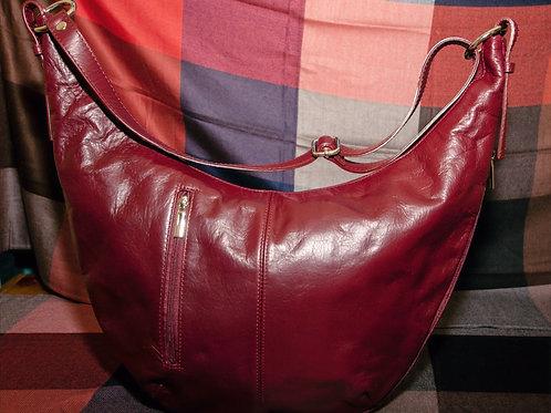 Leather Crescent Moon Bag ( Burgundy)