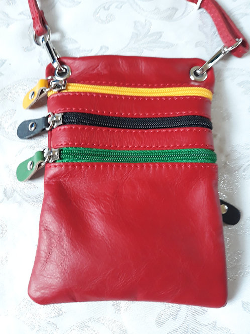 Zip Purse Leather bag (Red)