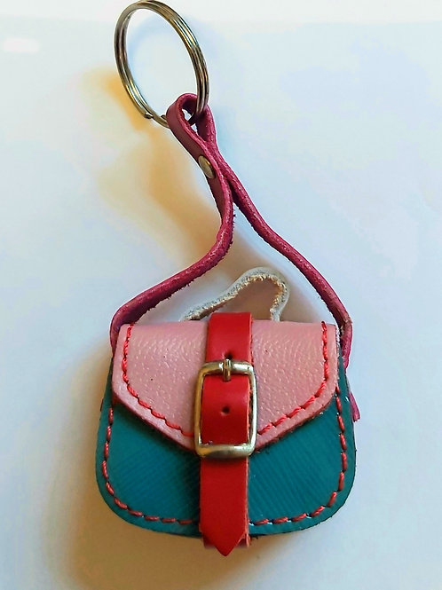 Mini Saddle Bag Leather Keyring