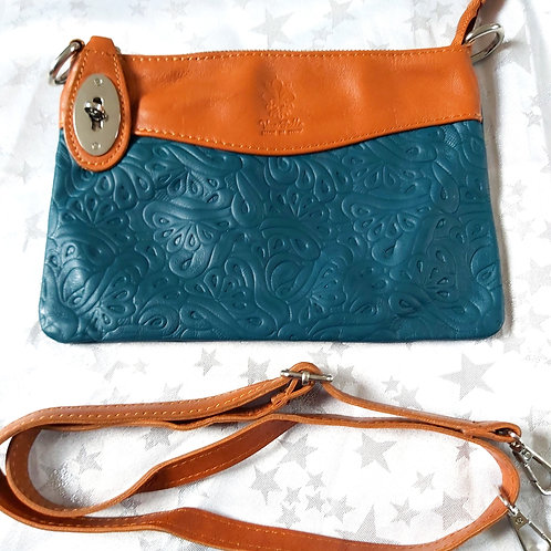 N.S.Embossed Leather Bag (Teal and Tan)