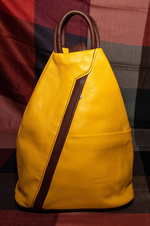 Leather Rucksack in Yellow and Chestnut Brown