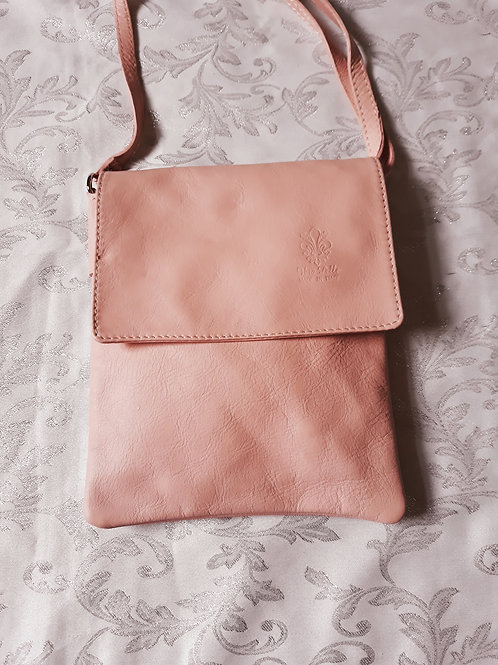 Small Flap Leather Cross-Body Bag (Pastel Pink)