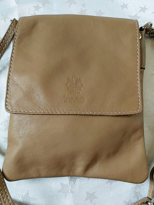 Small Flap Leather Cross-Body Bag (Taupe)