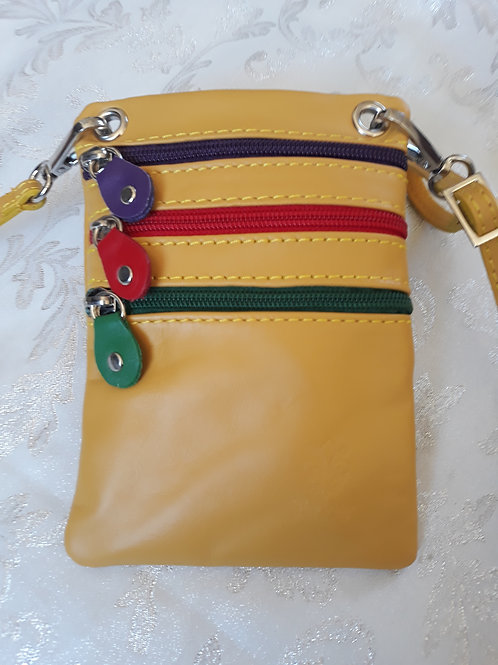 Zip Purse Leather bag (Yellow)