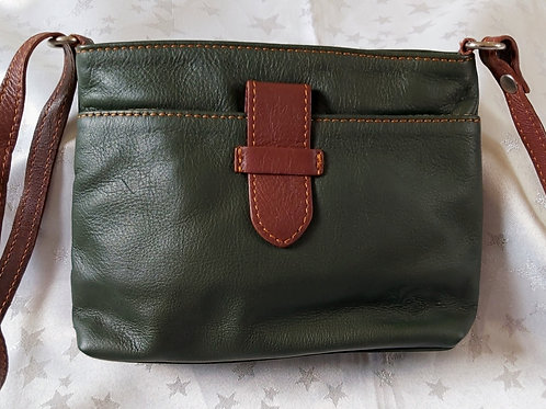Italian Leather sq.w.tb bag (Green & Chestnut Brown)
