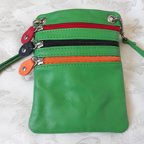 Zip Purse Leather bag (Green)