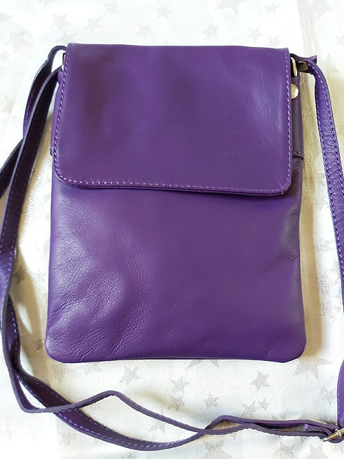 Small Flap Leather Cross-Body Bag (Purple)