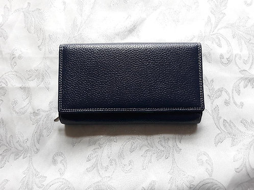 Long Purse Italian Leather (Navy-2)