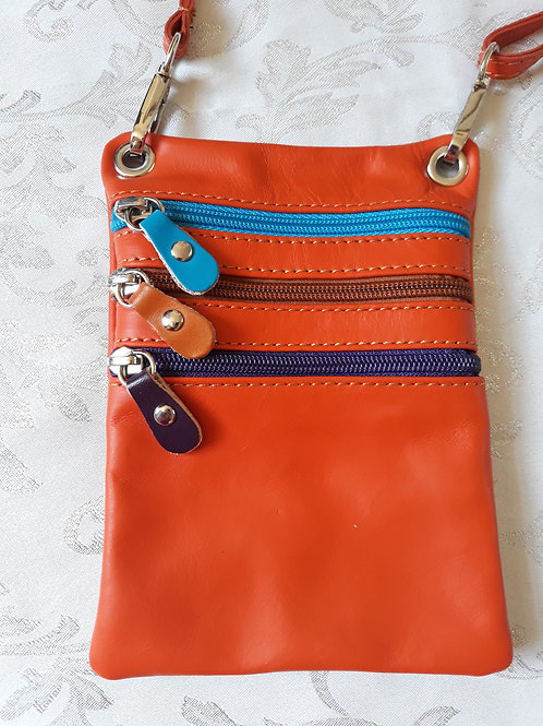 Zip Purse Leather bag (Orange)