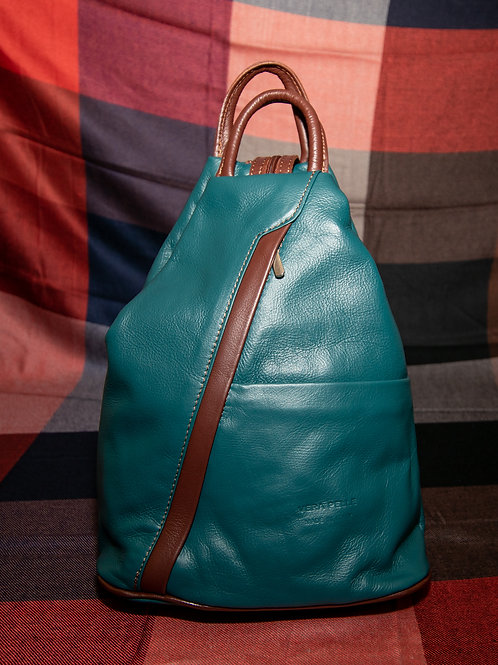 Leather Rucksack in Teal and Chestnut