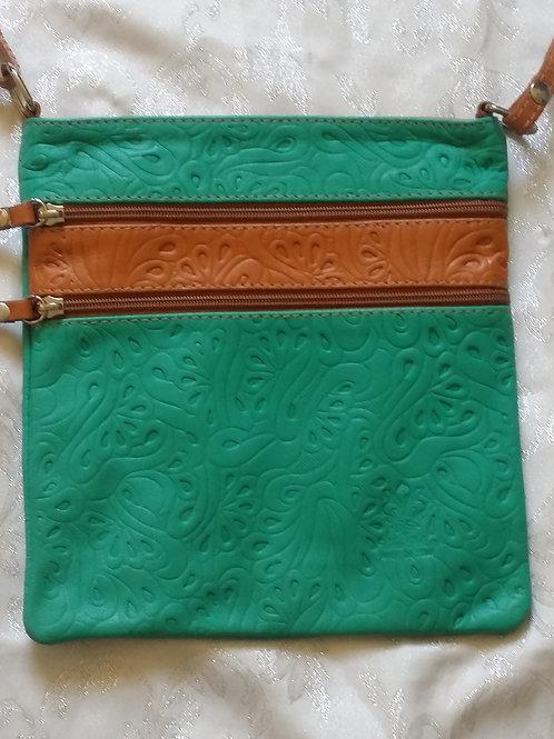 Embossed leather cross-body bag (Aqua)