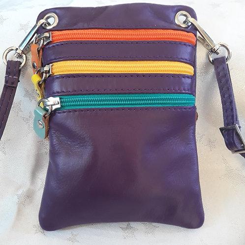 Purple Leather Zip Purse