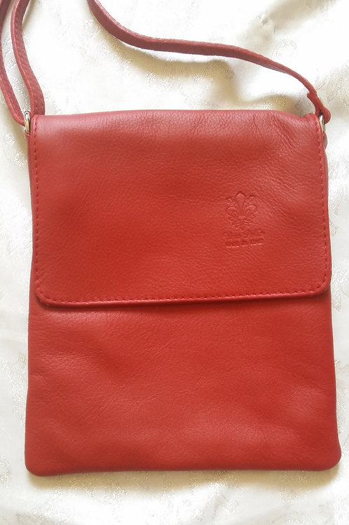 Small Flap Leather Cross-Body Bag (Dark Red)