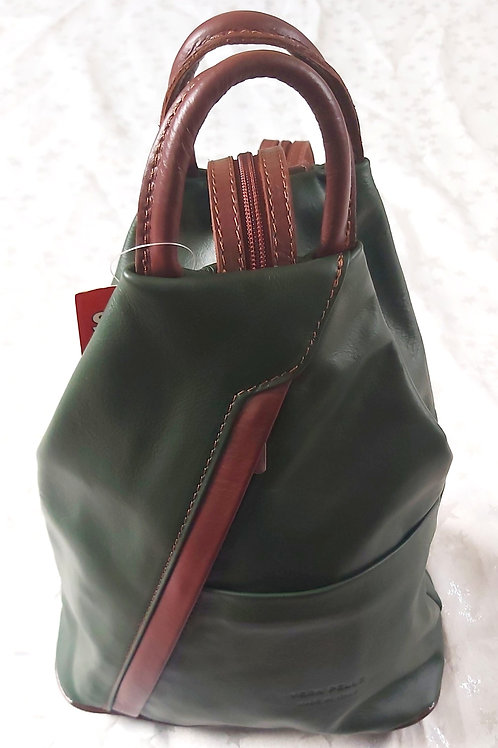 Leather Rucksack (Green and Chestnut)
