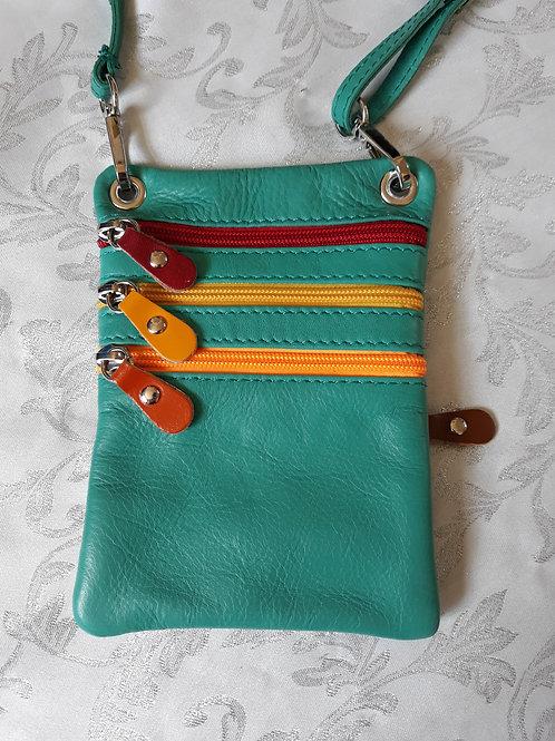 Zip Purse Leather bag (Aqua)