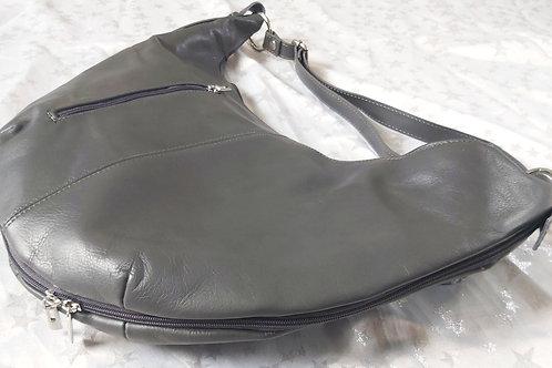 Leather Crescent Moon Bag (Dark Grey)