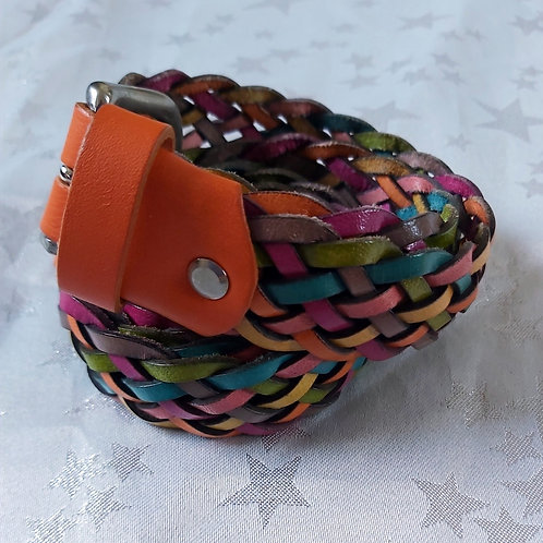 Large Leather Belt (Orange, Pink, Turquoise and Yellow))