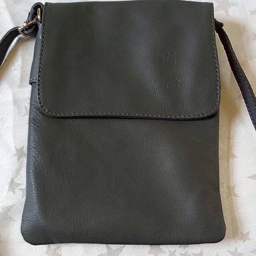Small Flap Leather Cross-Body Bag (Dark Grey)